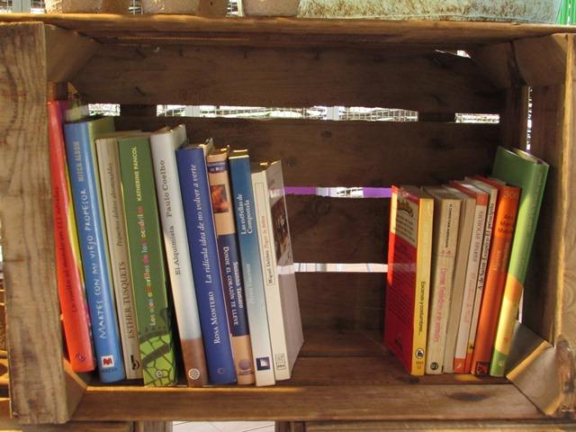 Libros en caja de madera