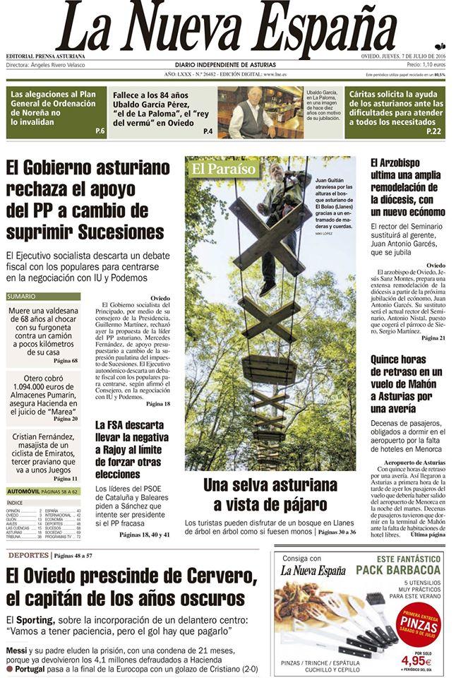 "Portada LNE - ""Una selva asturiana a vista de pájaro"""